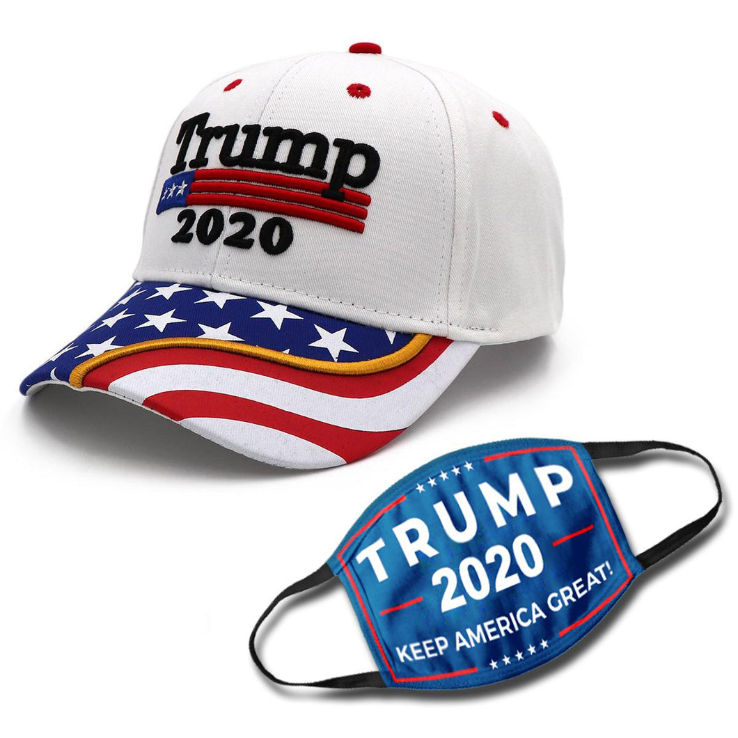 Trump 2020 White Flag Bill Hat USA Flag Trump Hat (NEW BUNDLE)