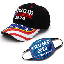 Load image into Gallery viewer, Trump 2020 Black Flag Bill Hat - USA Flag Trump Hat (NEW BUNDLE)