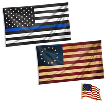 Load image into Gallery viewer, American Flag - Betsy Ross Flag + Thin Blue Line Flag + American Flag Lapel Pin Bundle