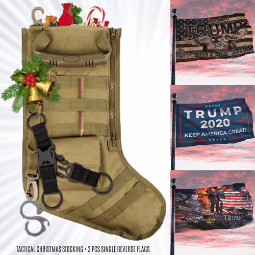 Tactical Christmas Stocking + TRUMP 2020 3-PACK FLAG BUNDLE