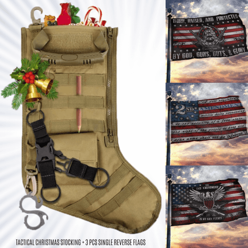 Tactical Christmas Stocking + 2ND AMENDMENT 3-PACK FLAG BUNDLE