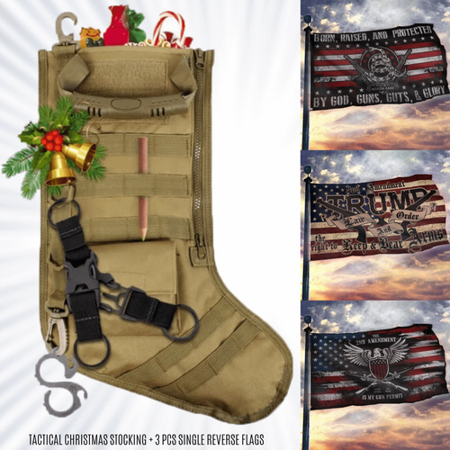 Tactical Christmas Stocking + 2ND AMENDMENT 3-PACK FLAG BUNDLE 2