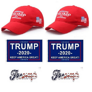 Trump Rally 6 Pc Bundle Deal - Trump 2020 Hat American Flag Hats Flags and Pins + FREE Shipping