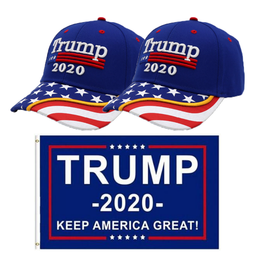 Trump 2020 2 Blue Flag Bill  Hat - 2 Trump Hat + FREE Trump2020 Keep America Great Rally Flag Combo Deal