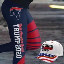 Load image into Gallery viewer, Pre-Release Limited Edition Trump 2020 KAG - Leggings - USA Colorway + Trump 2020 White Flag Bill Hat