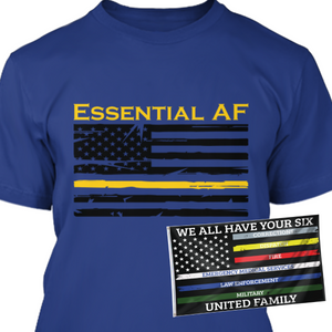 Yellow Thin Line Essential AF - Men's Shirt w/ Free 3x5' We The Six Flag