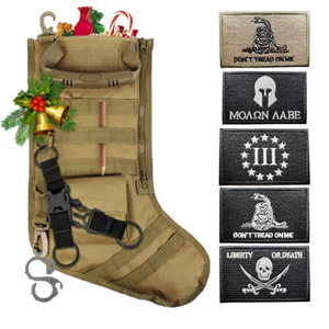 Tactical Christmas Stocking + 5 Pcs 2A Embroidered Tactical Clothing Patch
