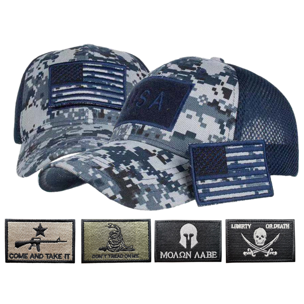 Adjustable Operator Digital Truckers Cap + 5 Pcs 2A Flag Embroidered Tactical Patch Bundle