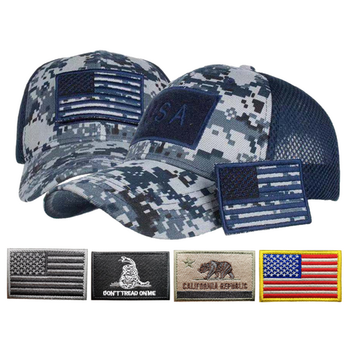 Adjustable Operator Digital Truckers Cap + 5 Pcs Patriotic Embroidered Tactical Clothing Patch