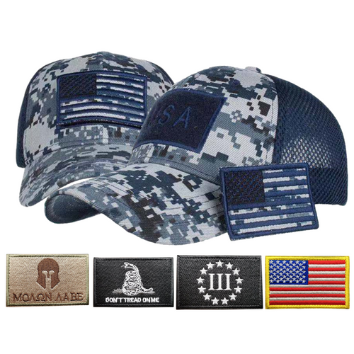 Adjustable Operator Digital Truckers Cap + 5 Pcs USA Patriotic Embroidered Tactical Clothing Patch
