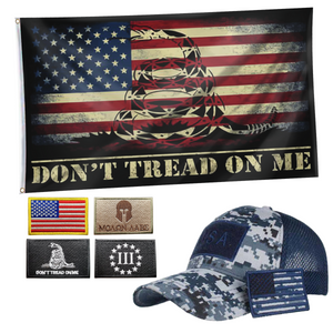DTOM USA Flag + Digital Truckers Cap and 5Pcs Embroidered Tactical Patch Bundle