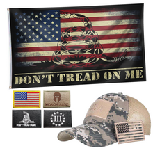 Load image into Gallery viewer, DTOM USA Flag + Digital Truckers Cap and 5Pcs Embroidered Tactical Patch Bundle
