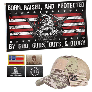 Born Raised Protected by God Flag + Digital Truckers Cap and 5Pcs Embroidered Tactical Patch Bundle