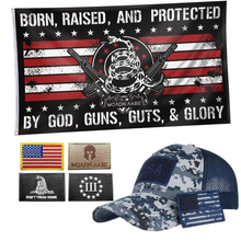 Load image into Gallery viewer, Born Raised Protected by God Flag + Digital Truckers Cap and 5Pcs Embroidered Tactical Patch Bundle