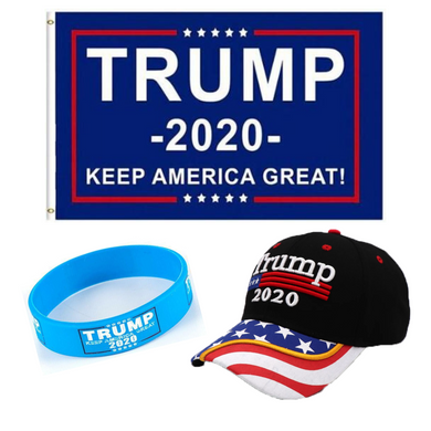 Trump 2020 Flag Bill USA Flag Hat and Trump Rally Bracelet + Free Trump Rally Flag Combo Deal