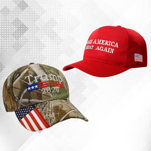 2 pc Trump Maga and Camo hat combo deal - Trump Red Maga Hat and Trump 2020 Mossy Oak Camo Hat