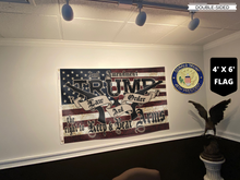 Load image into Gallery viewer, TRUMP 2020 LAW AND ORDER 4' X 6' FLAG + TRUMP 45TH PIN COMBO