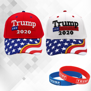 Trump 2020 Red and White Flag Bill Hats - 2 Trump Hats + FREE 2 Trump Rally Bracelets Combo Deal