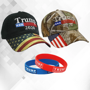 3 pc Trump 2020 Camo and Flag bill w/ 2 Trump 2020 Bracelet Red and Blue