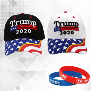 Trump 2020 Black and White Flag Bill Hats - 2 Trump Hats + FREE 2 Trump Rally Bracelets Combo Deal