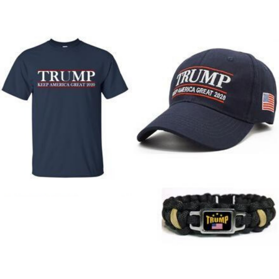 Trump Keep America Great 2020 Hat and a Free Trump Paracord Bracelet w/ Free shipping