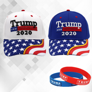 Trump 2020 White and Blue Flag Bill Hats - 2 Trump Hats + FREE 2 Trump Rally Bracelets Combo Deal