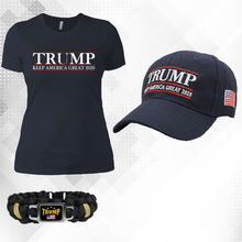 Load image into Gallery viewer, Trump Keep America Great 2020 Shirt for Women and Hat + Free Trump Paracord Bracelet Combo Deal
