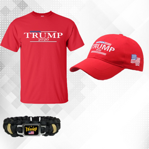 Trump 2020 USA Flag Mens T Shirt and Hat + Free Trump Paracord Bracelet Combo Deal