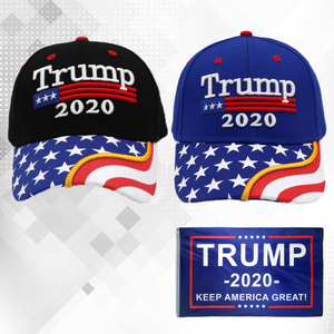 Trump 2020 Black Flag Bill and Blue Flag Bill Hats - 2 Trump Hat + FREE Trump2020 Keep America Great Rally Flag Combo Deal