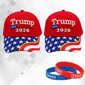 Trump 2020 2 Red Flag Bill Hats - 2 Trump Hats + FREE 2 Trump Rally Bracelets Combo Deal