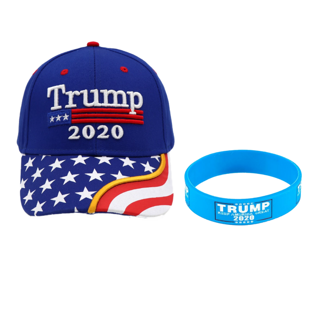 Trump 2020 Blue Flag Bill Hat - USA Flag Trump Hat  and Trump Rally Bracelet + Free Trump Rally Flag Combo Deal