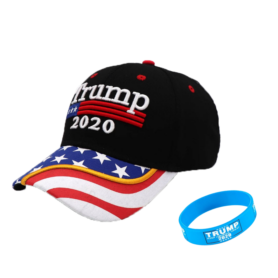 Trump 2020 Flag Bill USA Flag Hat + FREE Trump Rally Bracelet & Sticker Combo