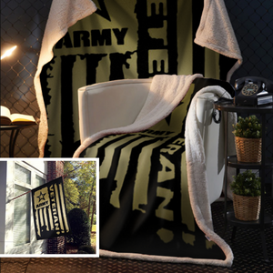 United States Army Veteran Sherpa Blanket - 50x60 + Free Matching 3x5 Single Reverse Flag