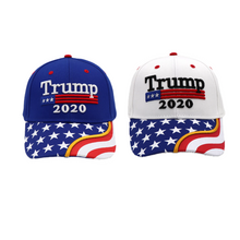 Load image into Gallery viewer, Trump 2020 White Flag Bill and Blue Flag Bill Hats - 2 Trump Hat + FREE Trump2020 Keep America Great Rally Flag Combo Deal