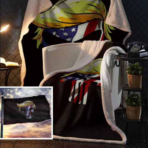 Punisher Trump USA Flag Fleece Blanket 50x60 + FREE MATCHING 3x5 SINGLE REVERSE FLAG