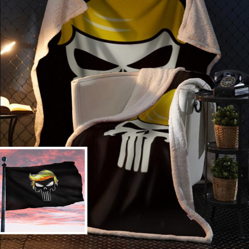 Punisher Trump Fleece Blanket 50x60 + FREE TRUMP PUNISHER 3x5 SINGLE REVERSE FLAG