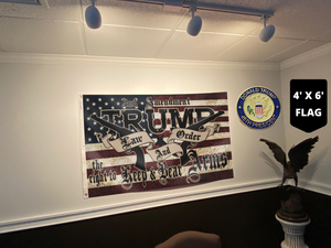 TRUMP 2020 LAW AND ORDER 4' X 6' FLAG + TRUMP 45TH PIN COMBO