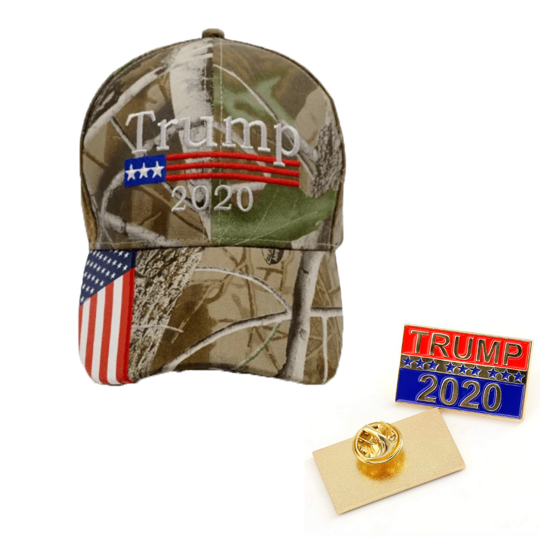 Trump 2020 Camo Hat w/ Trump 2020 Pin and Keep America great Flag