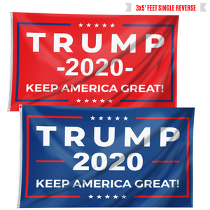 Keep America Great Trump 2020 - Red and Blue Rally Flag Bundle