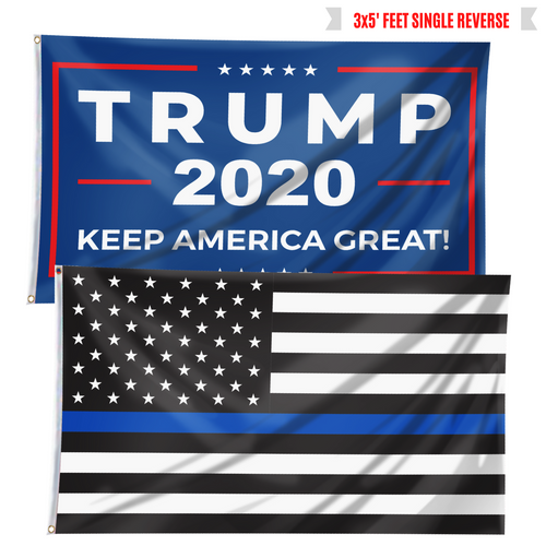 Keep America Great Trump 2020 and Thin Blue Line - Flag Bundle