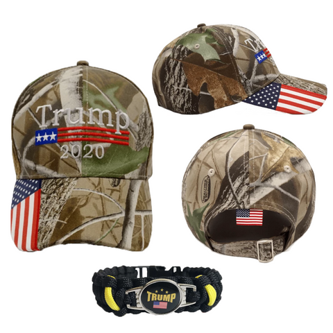 Donald Trump 2020 Hat Camo with American Flag Embroidered Mossy Oak + Free Trump Paracord Bundle Combo with Free Shipping
