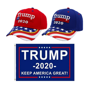 Trump 2020 Red Flag Bill and Blue Flag Bill Hats - 2 Trump Hat + FREE Trump2020 Keep America Great Rally Flag Combo Deal