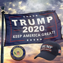 Load image into Gallery viewer, Trump 2020 Keep America Great Hat w/ Trump 45th President Pin and Keep America great Flag