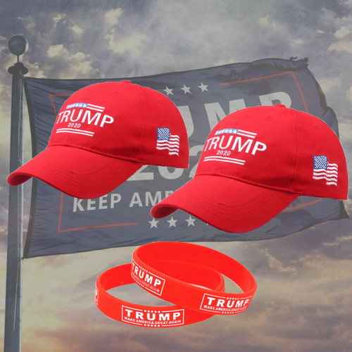 2 Trump 2020 Hat American Flag w/ 2 Free Red Rally Bracelet and Free Shipping