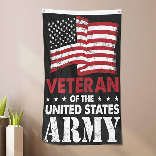 Veteran of the United States Army Vertical Flag