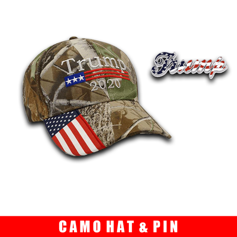 Donald Trump 2020 Hat Camo with American Flag Embroidered Mossy Oak and Trump Pin Bundle