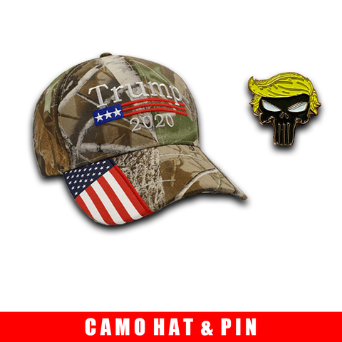 Donald Trump 2020 Hat Camo with American Flag Embroidered Mossy Oak and Trump Punisher Pin Bundle