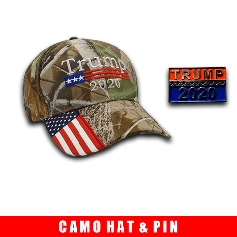 Donald Trump 2020 Hat Camo with American Flag Embroidered Mossy Oak and Trump 2020 Pin Bundle