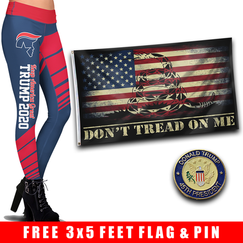 Pre-Release Limited Edition Trump 2020 KAG - Leggings - USA Colorway + DTOM USA Flag and 45th President Trump Pin