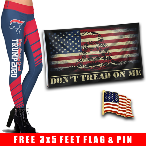 Pre-Release Limited Edition Trump 2020 KAG - Leggings - USA Colorway + DTOM USA Flag and American Flag Lapel Pin